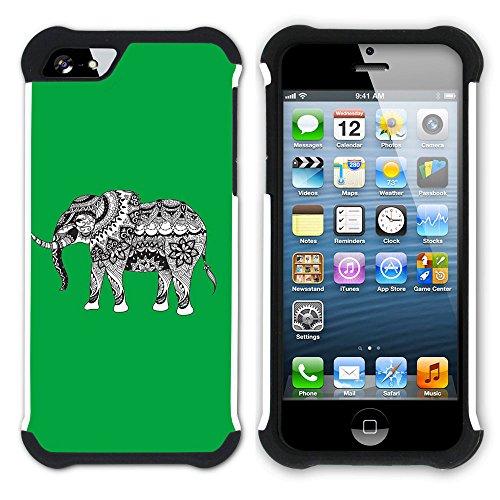 Graphic4You Stammes- Elefant (Wasserblau) Hart + Weiche Kratzfeste Hülle Case Schale Tasche Schutzhülle für Apple iPhone SE / 5 / 5S Grün