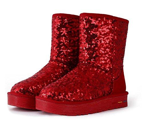 Wealsex Bottes Fourrées Doublée Chaleureux Botte De Neige Mi Mollet Paillettes Classique Uni Couleur Pur Plate Talons Epais Chaussure De Coton Chaussures d'hiver Grande Taille 39 40 Femme Rouge