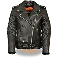 Milwaukee stile classico moto giacca da donna in pelle W/zip out Liner (XXL) (X-Large) by Milwaukee pelle