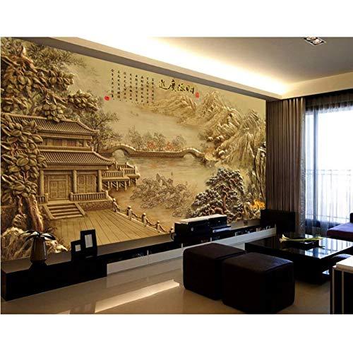 Pmhhc Personnalisé Peintures Murales 3D Papier Peint Pavillon Classique Paysage Relief Tv Fond Mur Salon Canapé Wal Chambre Papier Peint-350X250Cm -