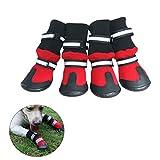 UEETEK Hundeschuhe Anti Rutsch Haustier Schuhe Wasserdichte Regen Stiefel für Hunde Größe XL (rot)