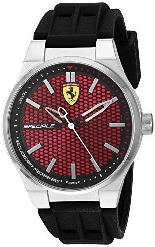 Ferrari–Orologio in acciaio INOX e silicone casual da uomo, colore: Nero (Model: 830353)