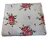 Homescapes 100% Baumwolle Frottee Handtuch Duschtuch Weiß mit Vintage Blumen Print und Gestickter Bordüre