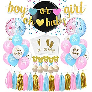 KREATWOW Geschlecht offenbaren Party Dekorationen Jungen Mädchen Baby Shower Supplies - Geschlecht Reveal Ballon, Banner, Ballons, Papier servietten, Quaste Garland, Cupcake Toppers und vieles mehr