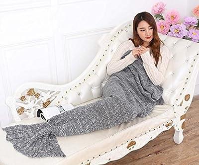 YOEEKU Tejer patrones cola de sirena manta, Super suave y Moda toda la temporada sofá sacos de dormir manta de ganchillo diseño de sirena cola para Bolsa de Dormir Aire Acondicionado,adulto,180 * 90cm