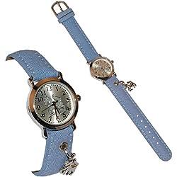 """Kinderuhr - """" Pferd mit Anhänger """" - Stoff / Leder Armband - Uhr Kinder Armbanduhr blau Mädchen Analog - Pferde / Pferdeuhr - Lernuhr - Kinderarmbanduhr"""