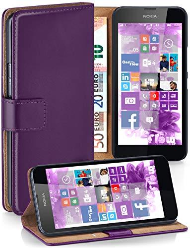 moex Nokia Lumia 630 | Hülle Lila mit Karten-Fach 360° Book Klapp-Hülle Handytasche Kunst-Leder Handyhülle für Nokia Lumia 630/635 Dual SIM Case Flip Cover Schutzhülle Tasche
