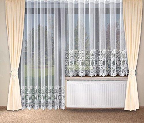 Fertig-Store Wirkbrosche halbtransparent mit Faltenband 1:2,5 Farbe weiss Größe HxB 225x450 cm