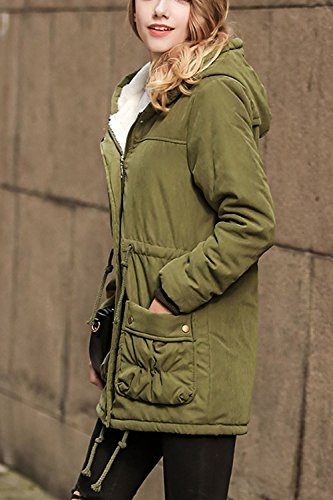 Frauen Im Winter Locker Einen Fleece - Zip Up Lange Ärmel Dick Winddichte Parkas Outwear Mit Tunnelzug Navygreen