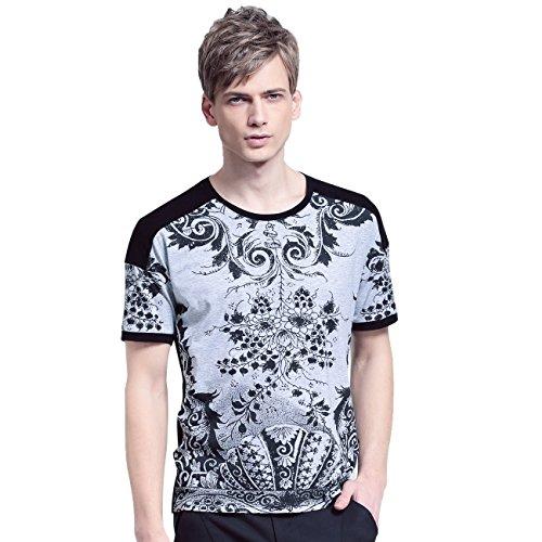 FANZHUAN Uomo Estate Nuovo Arrivo T-Shirt Maglietta Maniche Corte Grigia Stampa Floreale Moda Casual