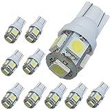 AUDEW 10 Stk.T10 194 168 5050 W5W 5 LED SMD 12V Birne Auto Rücklicht KFZ Kennzeichen Türleuchte Weiß