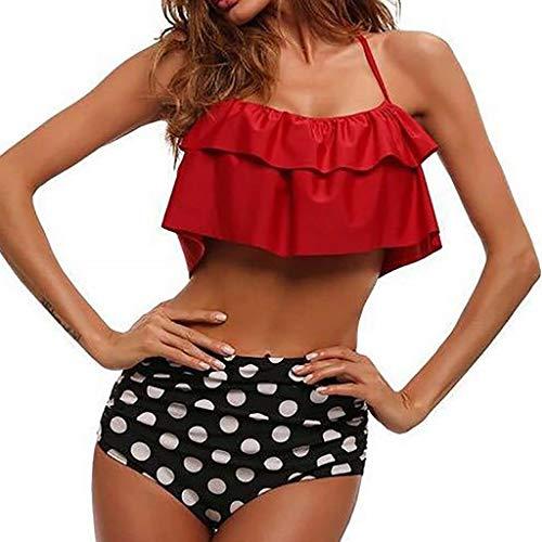 Fascino-M Bikini High Waist Damen Badeanzug Rüschen Zweiteilige Bademode mit Bikini Set