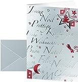 SIGEL DS362 Weihnachtskarten 'Silver Star'  Set mit Silber-Umschlägen, DIN A6, 10 Stück, mit Prägung + Einlageblatt - weitere Designs