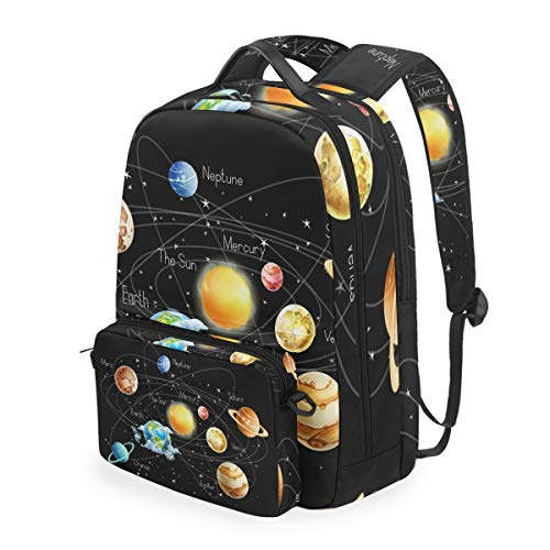 Outer Space Solar System Abnehmbarer Rucksack Student Schultasche Casual Reisen Wandern Camping Laptop Daypack
