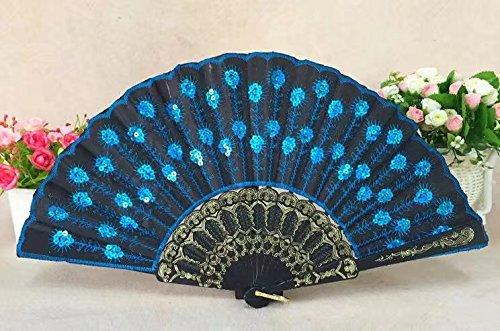 ricisung Pfau Modeling schwarz Pole Pailletten bestickt Fan, hellblau (Burlesque Kostüm Bedeutung)
