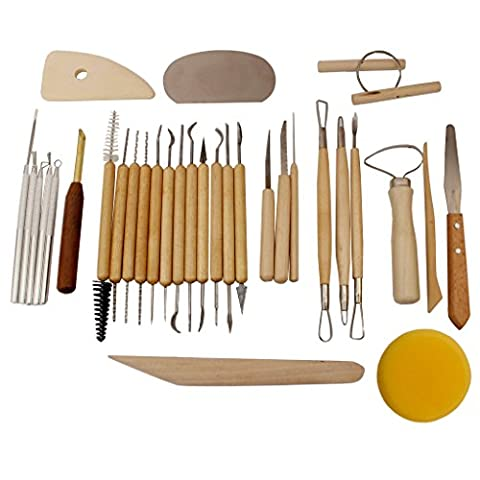 Kit pour Poterie/Céramique 32 pcs par Kurtzy – Ustensiles de Modelage Tout-En-Un pour Argile - Outils de sculpture à doubles embouts pour Couper, Tailler, Trancher, Graver, Affiner & Ajouter de la matière