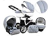 +++ SALE Raff White Lux System Kinderwagen Babywagen Buggy, Kinderwagen System 2 in1 + Wickeltasche + Regenschutz +Insektenschutz (Set 2w1: Wanne + Sportsitz, Silver)