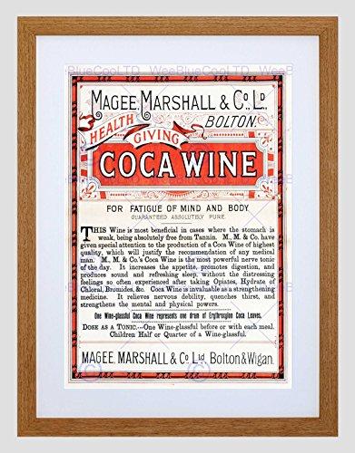 Preisvergleich Produktbild ADVERT MAGEE MARSHALL COCA WINE MEDICINE LEAVES HEALTH FRAMED ART PRINT B12X5930