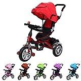 Miweba Kinderdreirad Schieber 7 in 1 Kinderwagen mit Dach Multifunktional (Rot)