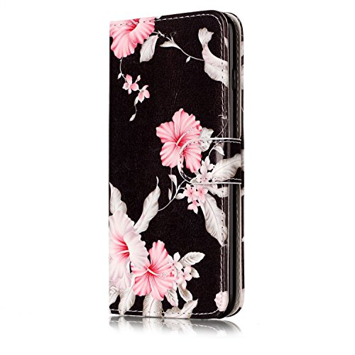 Wallet Custodia per iPhone 7 Plus,Custodia in Pelle per iPhone 7 Plus,Leeook Moda Bella Elegante Vintage Rosa Mare Design Magnetico Colorata Folio Morbida PU Cover Borsa Copertura Libro ID Slot per Sc Black Pink Flower