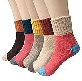 Chaussettes en laine - Lot de 5 paires de chaussettes femme, chaussettes hiver vintage doux chaud Pour Trekking Camping Sportive Coton Warm Wool chaussettes