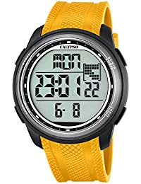 Calypso hombre-reloj deporte digital PU-pulsera cuarzo-reloj amarillo esfera negro UK5704/1