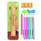 Btheone Lot de 5 portemines Crayons automatiques Pointe fine de 0,7mm, Couleurs assorties Avec gomme à l'extrémité