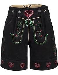 Damen Trachten Lederhose m. Trägern Schwarz Größe 34-46