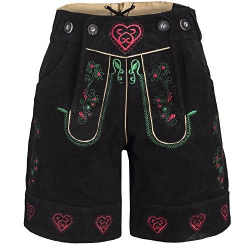 Damen Trachten Lederhose m. Trägern Schwarz Größe 36