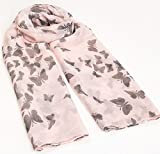 World of Shawls Ladies Butterfly Print Long Scarves, Baby Pink/Grey