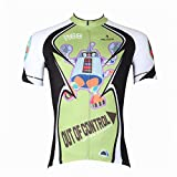 KMFEEL Cute Cartoon Robot Invisible Zipper Men Cycling Short Sleeve Jersey
