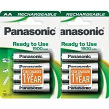 8piezas Panasonic AA Pilas Recargables precargadas y listo para su uso 1900mAh batería NiMH