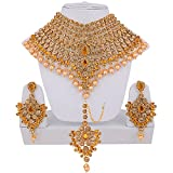 Lucky Jewellery Gold LCT Bridal Dulhan Wedding & Engagement Necklace Set With Mang Tikka For Women