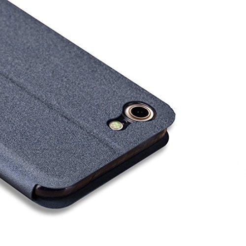 iPhone Case Cover MOFI pour iPhone 7 Crazy Horse Texture Boîtier en cuir flip horizontal avec support ( Color : Blue ) Grey