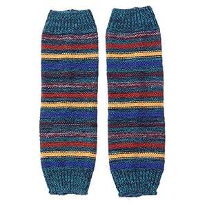 BESTOYARD Stulpen Herbst Winter Stripes Passende gestrickte warme Socken Ärmel Stiefel Leggings (blau)