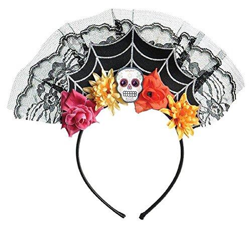 1x Haarreif * Day of The Dead * für Halloween und Motto-Party // Tiara mit Totenkopf und Bunten Blumen // Verkleidung Diadem