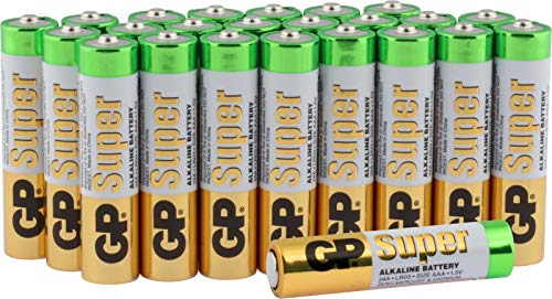 Batterien Micro AAA LR03 Vorratspack 24 Stück GP Batteries Super Alkaline (03024AB24) inklusive praktischer PET Aufbewahrungsbox -