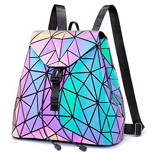 LOVEVOOK Geometrischer Rucksack, Leuchtend Rucksäcke Damen Schultasche Holographic Tasche Daypack Umhängetasche Schultertaschen Tagesrucksack, für Schule College Reise Party