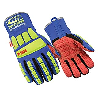 Ringers Gloves R267B-08 R-267B Roughneck TefLoc Grip Barrier CE Level 5 Cut Protection Heavy Duty Impact Work Gloves, Yellow/Blue/Red, Small