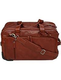 S Babila - Sac de voyage à roulettes style fourre-tout - cuir pleine fleur - taille cabine - Cognac 0SBqVVCOc