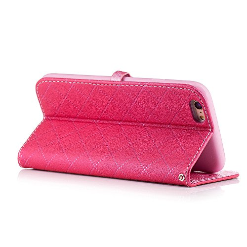Nutbro iPhone 6 Case,Synthetic Leather Heart-shaped Magnet Clasp Closure Folio Flip with Card Slots Wrist Strip Wallet Stand Cover for iPhone 6/6S BF-iPhone-6-63