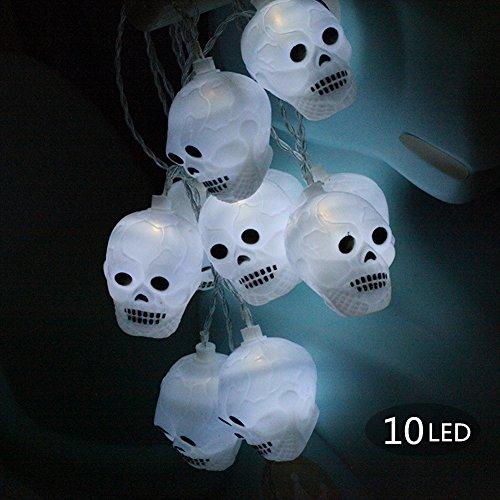 Halloween Deko Licht, Morbuy 10 LED Schädel Lichterkette Gruselige Schädel LED Lampen Batteriebetrieben Beleuchtung Bunte Leuchten Deko Perfekt Für Halloween-Dekoration (Halloween Baum Aufblasbare)