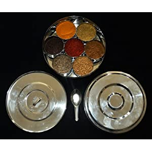 18cm STAINLESS STEEL SPICE CONTAINER MASALA DABBA with FREE 11 SPICES |FREE DELIVERY| 4
