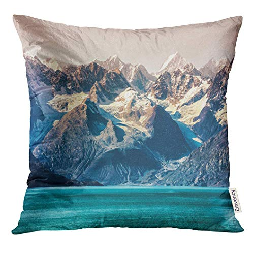 Throw Pillow Cover Glacier Bay National Park Alaska USA Cruise Travel View of Snow Capped Mountains at Sunset Amazing Decorative Pillow Case Home Decor Square 18x18 Inches Pillowcase