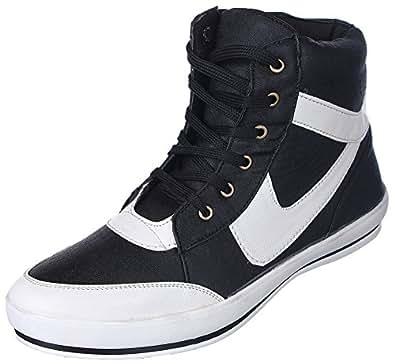 Kraasa Men's Black Synthetic Sneakers 9 UK 2214-Black_9