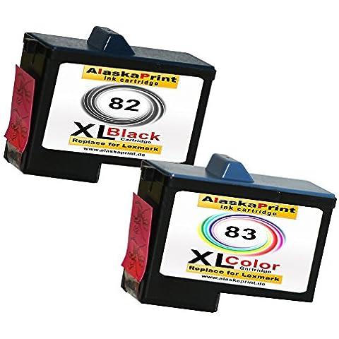 Premium Set di 2cartucce stampante compatibili come ricambio per Lexmark 82XL + 83XL 2er Set