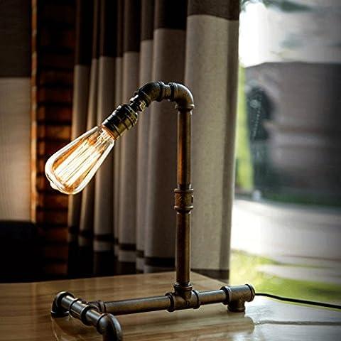LOFAMI Lampe à tubes à eau en acier punk européen simple, rétro industrie en mauvais état, ampoule Edison, salon vintage bar lampe de décoration de café, E27 ( Color : Dimmer switch )