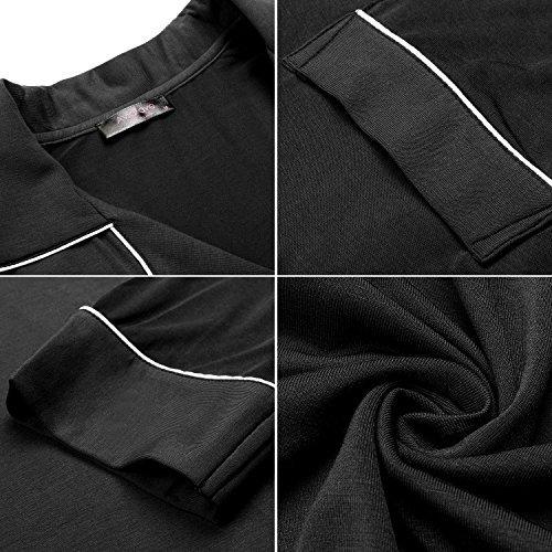 Avidlove Damen Viktorianisch Nachthemd T-shirt Luxus Nachtwäsche Lange Hülsen Langarm 1: Schwarz