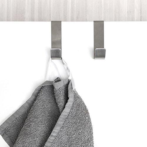 2 Stk. Türhänger Haken für Schrank - Tür aus Edelstahl Kleiderhaken Handtuchhaken Garderobenhaken für Topflappen handtuch Besteck · 80x20mm