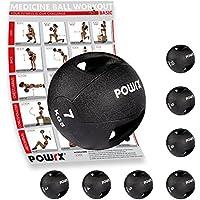 POWRX Balón medicinal con asas 3 kg, 4 kg, 5 kg, 6 kg, 7 kg, 8 kg, 9 kg, 10 kg - (7 kg/Negro)